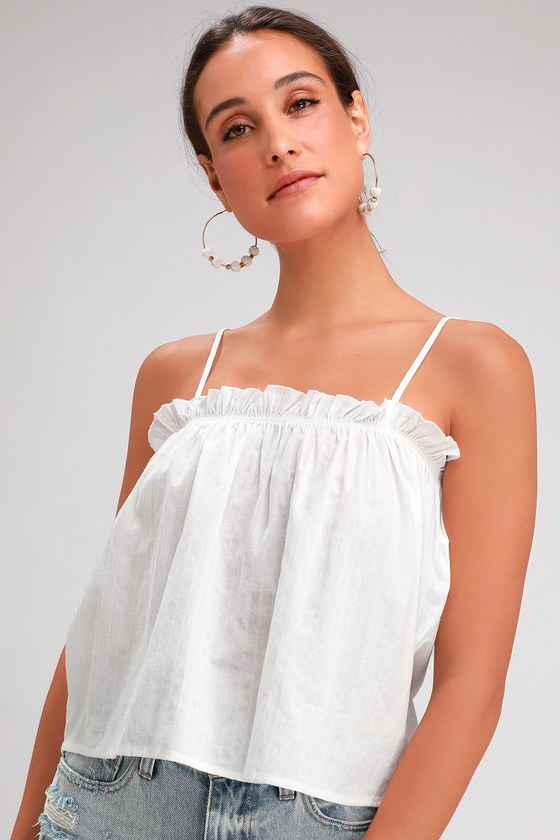 46c21af7042ba9 Lovely White Top - Sleeveless Crop Top - Breezy Ruffled Top