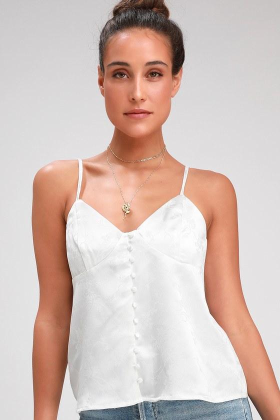 d1e2a875f62 Sexy White Cami Top - Satin Jacquard Cami Top - Satin Cami Top