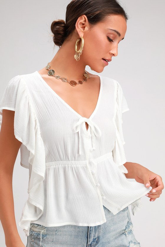 909f9e5c5d6634 Jack by BB Dakota On a Cruise - Off-White Top - Ruffled Button-Up
