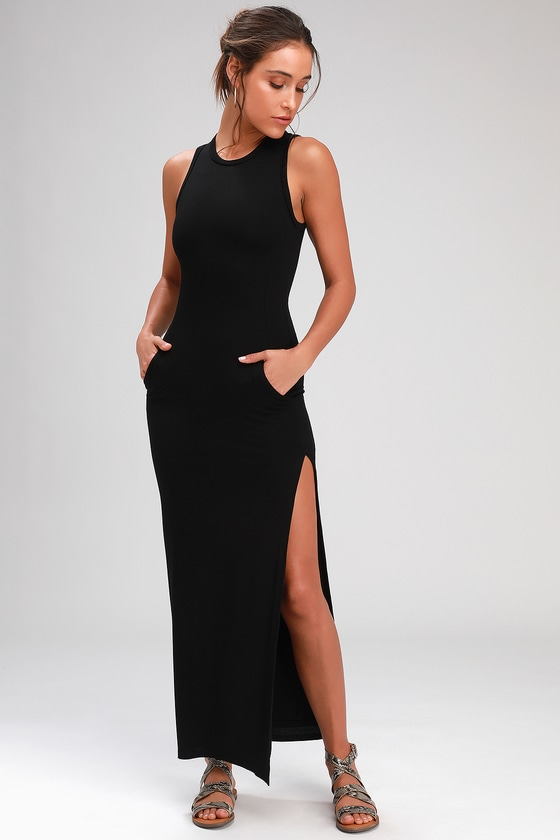 c6f54ff9bc Sexy Black Dress - Maxi Dress - Bodycon Maxi Dress - Maxi