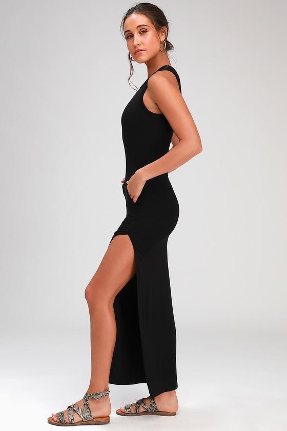 3ad5281165c Sexy Black Dress - Maxi Dress - Bodycon Maxi Dress - Maxi