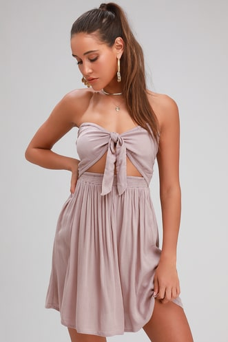 798205e0809 Lawrence Taupe Strapless Convertible Dress