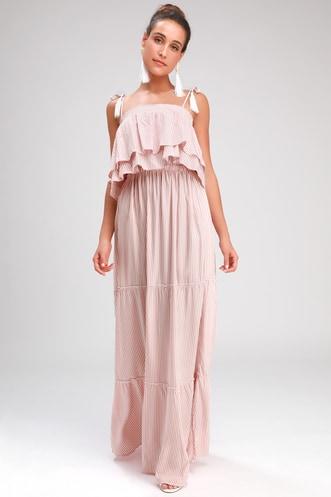 17a739285f5 Live Laugh Layer Rusty Rose Striped Maxi Dress