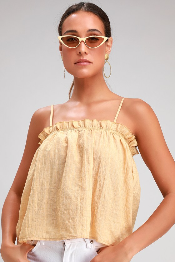 23dd54c22610d Lovely Yellow Top - Sleeveless Crop Top - Breezy Ruffled Top