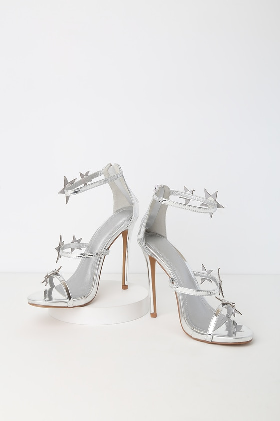 14d7958b3a50 Sexy Silver Heels - Ankle Strap - Rhinestone Heels