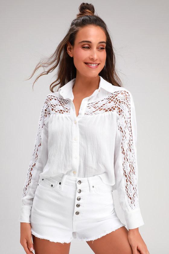 Cute Cream Top Crochet Paneled Shirt Long Sleeve Crop Top