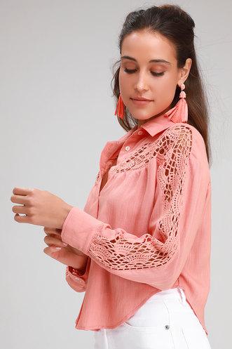 29bfd9caa939b4 Callie Slade Peach Crochet Long Sleeve Button-Up Top