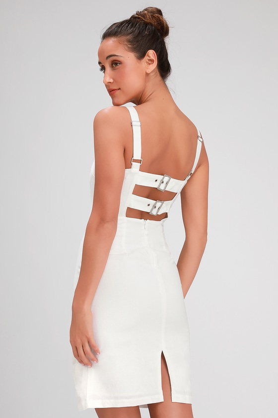 081efae2af3 Cream Dress - Midi Dress - Strappy Back Dress - Open Back Dress