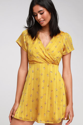 956dd53193555 Elegant Edith Mustard Yellow Floral Print Satin Skater Dress