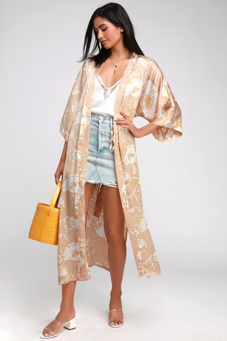 3dcb5b1f5efe3 Iris Beige Floral Print Satin Duster Robe