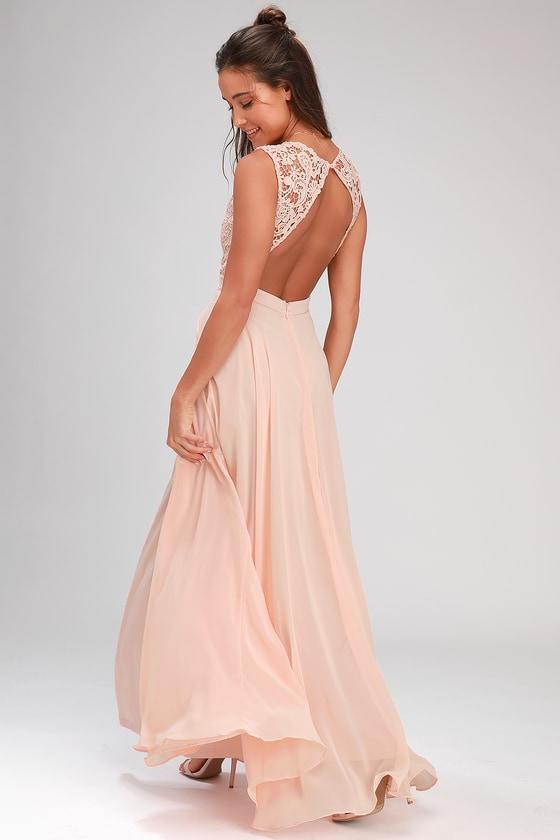 5061c635e12 Lovely Blush Pink Dress - Lace Maxi Dress - Backless Dress