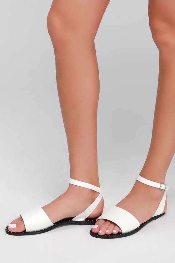 9e37452eea7d Trendy White Sandals - Studded Sandals - Flat Sandals