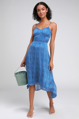 52c401a6395d Dreams of Love Royal Blue Floral Print High-Low Midi Dress
