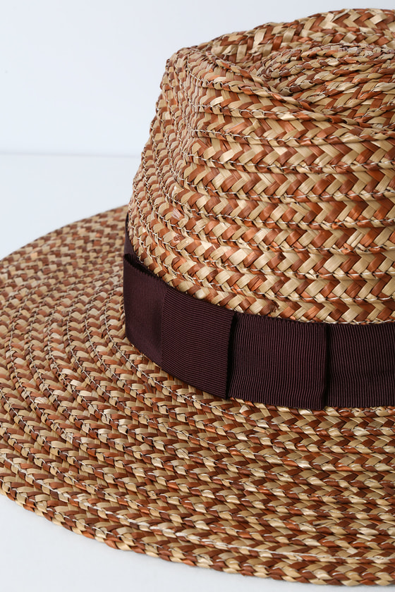 0f8141f4ff34f Cute Brown and Cream Hat - Woven Straw Hat - Fedora Hat