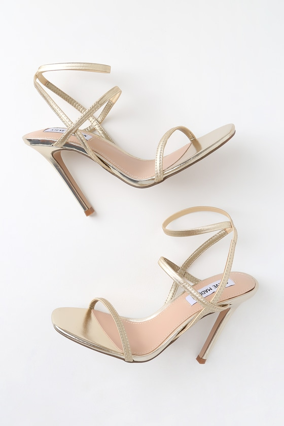 f7e9cd05a544 Steve Madden Nectur - Gold High Heel Sandals - Vegan heels