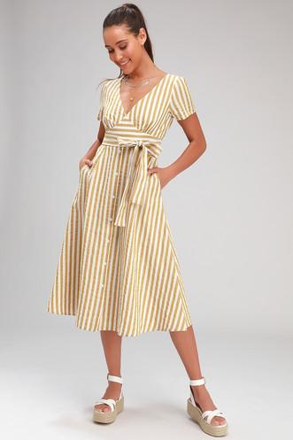 b02aa5c2cfc Swingdance Mustard Yellow Striped Button Front Midi Dress