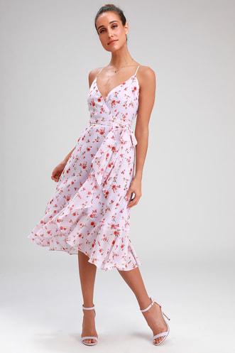 784491480cd4 Doreen Lavender Floral Print Ruffled Wrap Midi Dress