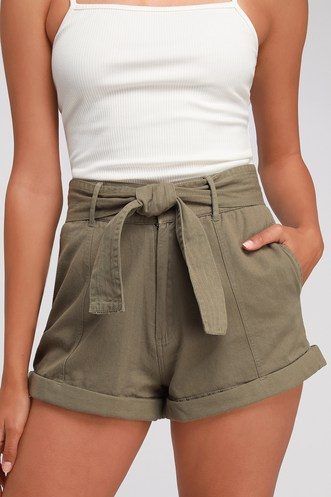 6aa4b1d180c Day After Day Olive Green High-Waisted Shorts