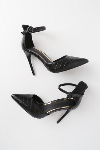 a06633329b0 Maranda Black Crocodile Embossed Pointed-Toe Ankle Strap Heels
