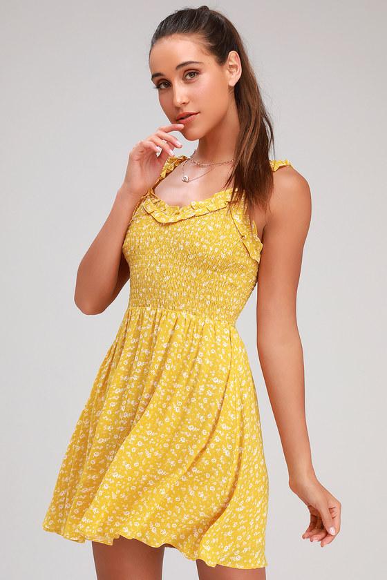 1164a23e7a4f Golden Yellow Floral Dress - Smocked Dress - Floral Print Dress