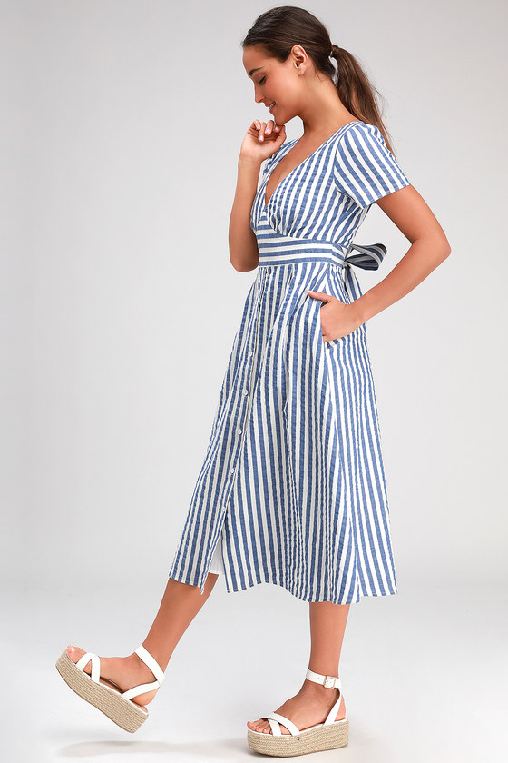 Swing Dance Clothing You Can Dance In Swingdance Blue Striped Button Front Midi Dress - Lulus $53.00 AT vintagedancer.com