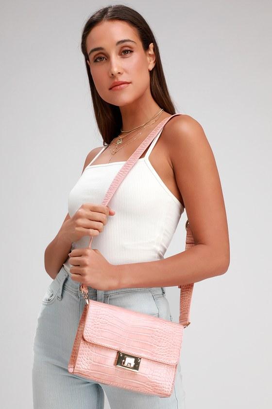 59449fba2 Chic Blush Pink Purse - Crocodile Purse - Vegan Handbag