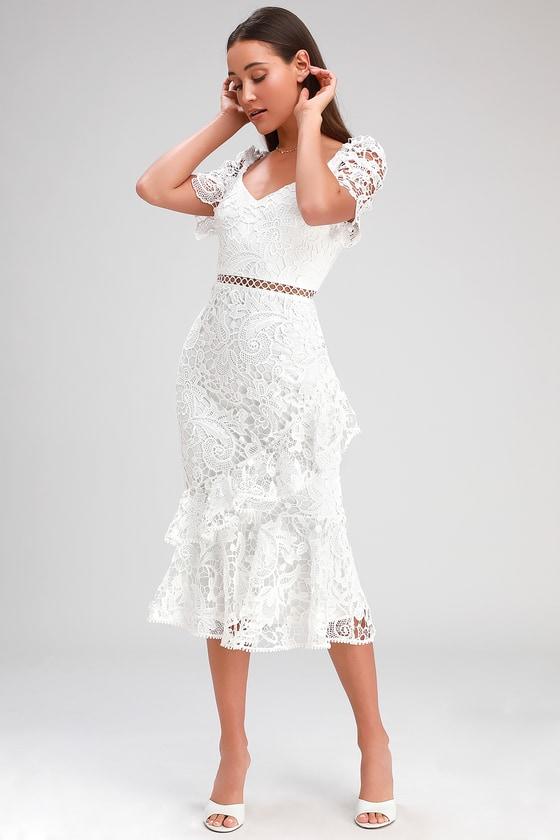 1930s Wedding History Briarwood White Lace Ruffled Midi Dress - Lulus $78.00 AT vintagedancer.com