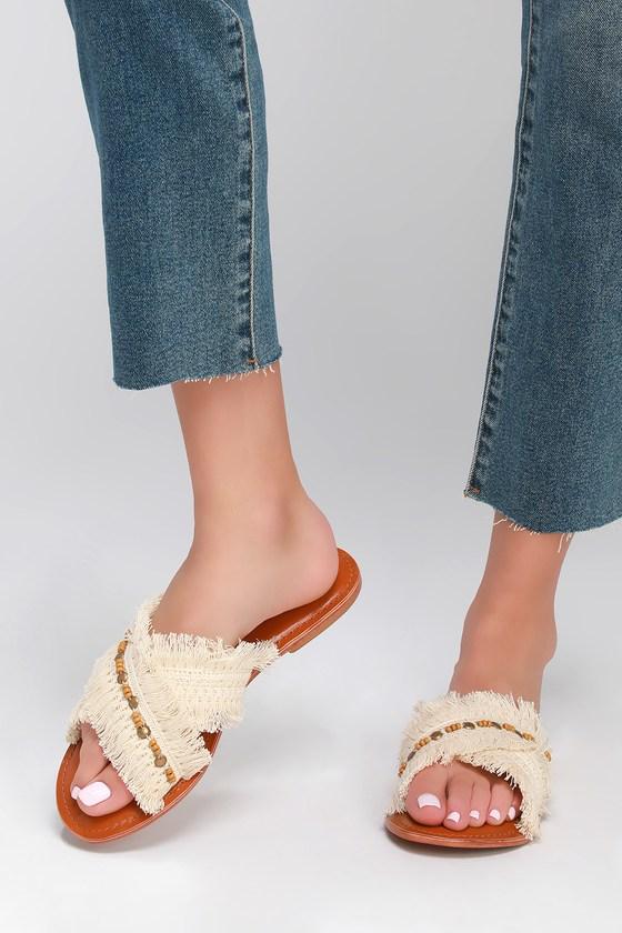 Vintage Sandal History: Retro 1920s to 1970s Sandals Hayzel White Embellished Slide Sandal Heels - Lulus $60.00 AT vintagedancer.com