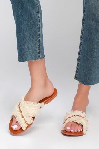 cc479a33d2ae Hayzel White Embellished Slide Sandals