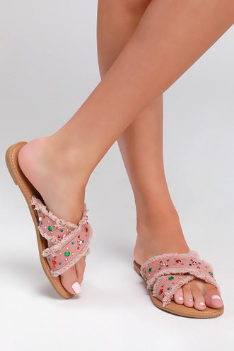 4243e5b281b Marylyn Pink Denim Embellished Slide Sandals