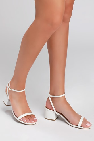 56c352a6c4c4 Selena White Ankle Strap High Heel Sandals
