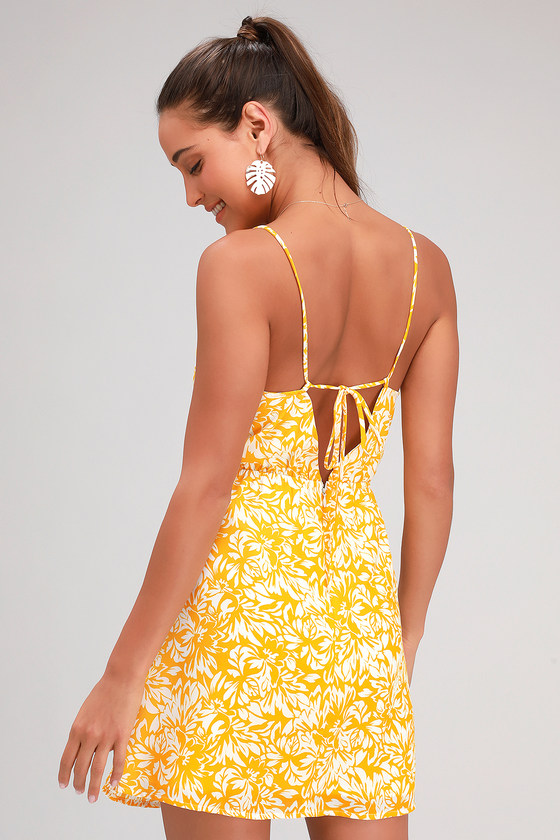 6bfbdf3364 Cute Floral Print Dress - Yellow and White Dress - Tie-Back Dress