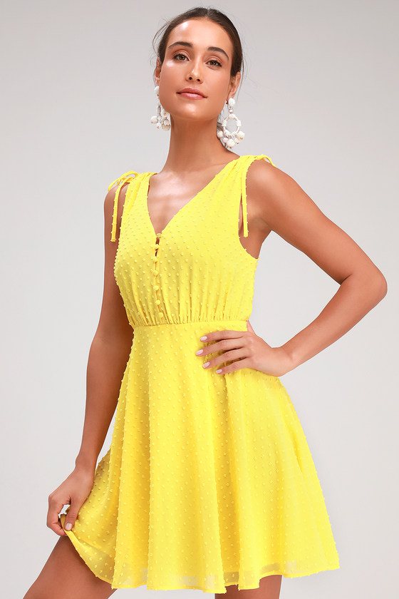 CHARA YELLOW SWISS DOT BUTTON-UP SKATER DRESS