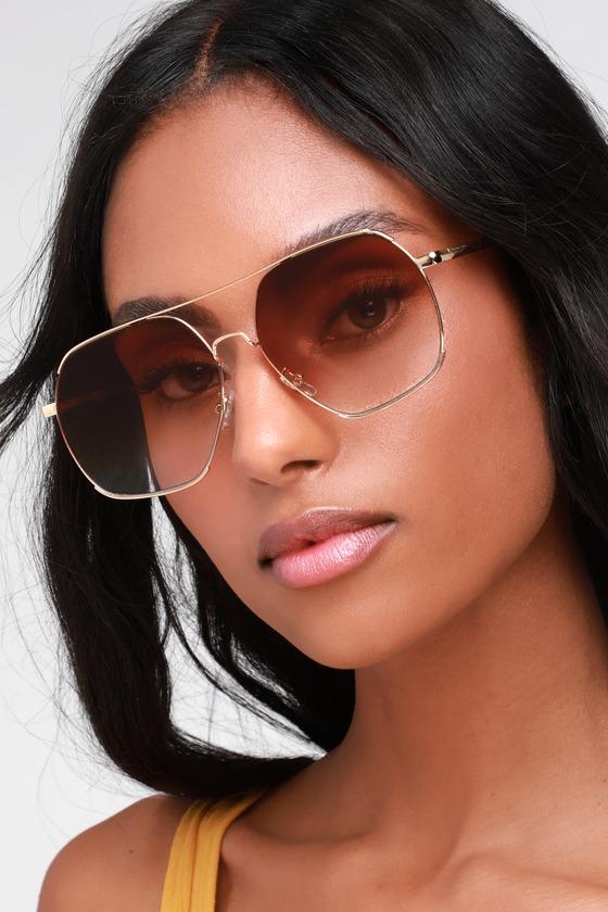 28831ab82fd Fun Aviator Sunglasses - Aviator Sunnies - Gold and Brown Sunnies