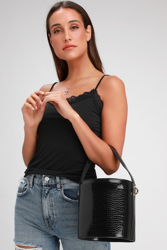 Mariposa Black Crocodile Print Bucket Bag by Lulus