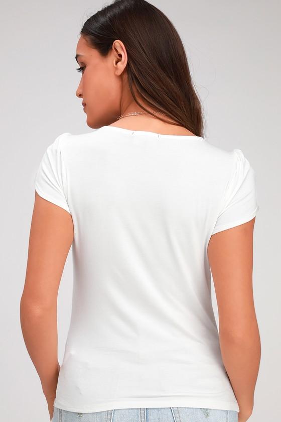 c81e71b0 Cute White Tee - Tulip Sleeve Tee - V-Neck Tee - White T-Shirt