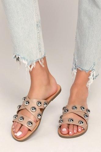 c5c8b3d528f6 Bryte Light Natural Studded Slide Sandals
