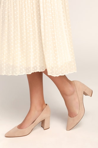 051f8ca5f32 Claire Light Natural Suede Leather Pointed-Toe Pumps