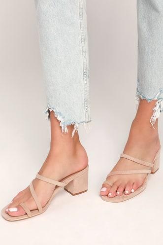 c4cf6ea94 Juliene Nude Suede High Heel Sandals
