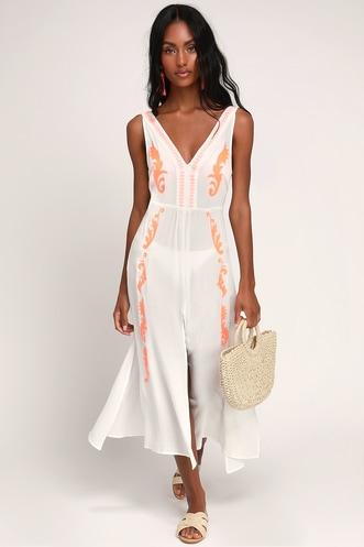 efa05902479 Moorea White and Neon Orange Embroidered Swim Cover-Up