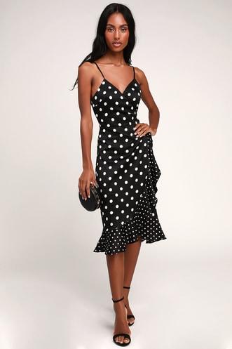 d9dd8fb6db Love Dottie Black Polka Dot Satin Wrap Dress