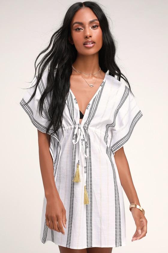 Cute White Swim Cover Up Striped Tassel Cover Up Kimono Lulus