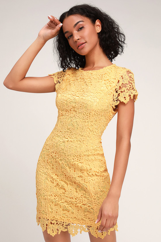 Paramour Yellow Lace Backless Bodycon Dress - Lulus