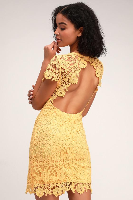 951768af863 Pretty Yellow Dress - Backless Dress - Lace Bodycon Dress