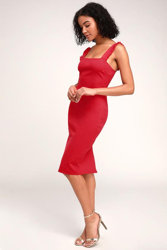 deeb6f3827b Sexy Red Dress - Red Midi Dress - Bodycon Midi Dress - Midi Dress