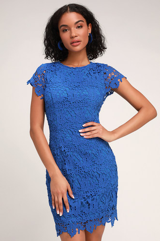7a257d8be5f Paramour Royal Blue Lace Backless Bodycon Dress. Quick View