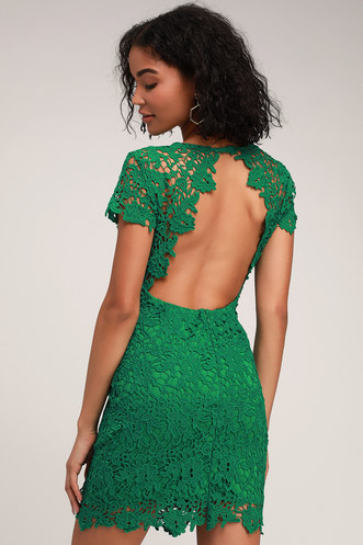 4a0ec0e04d Paramour Green Lace Backless Bodycon Dress