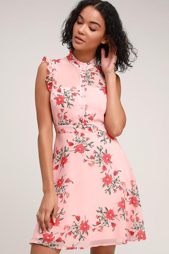 077bdc316078 Pretty Pink Floral Print Dress - Pink Floral Print Dress - Dress
