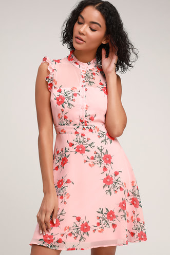 c2f3751a48 Porch Swing Blush Pink Floral Print Skater Dress