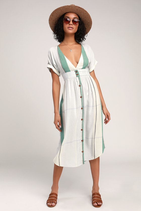 Reid Light Blue Multi Stripe Button-Up Midi Dress